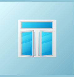Open plastic window with blue bright glass vector