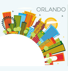 Orlando florida city skyline with color buildings vector