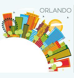 orlando florida city skyline with color buildings vector image