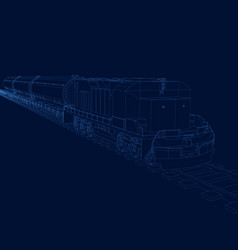 Outline of the train with the wagons vector
