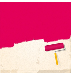 paint and roller background pink vector image