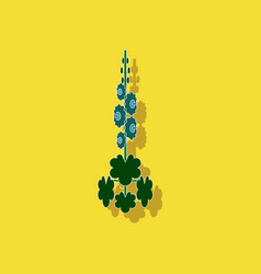 Paper sticker on stylish background plant malva vector
