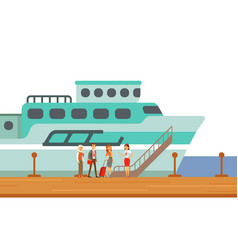 Passengers boarding touristic liner ship part of vector