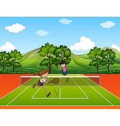 People playing tennis outside vector image