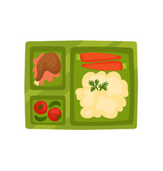 Plastic lunch box with mashed potatoes chicken vector
