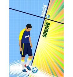 poster of football player soccer colored for vector image