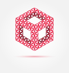Red cube isometric icon made with triangles - vector