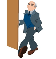 Retro hipster old man opening door vector
