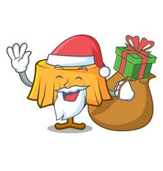 Santa with gift table cloth mascot cartoon vector