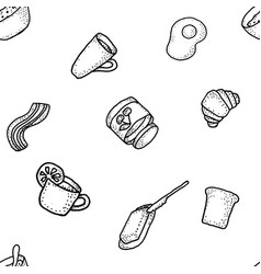 seabless pattern with breakfast tea vector image
