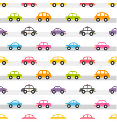 Seamless pattern with colorful cars on the road vector