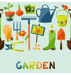 Seamless pattern with garden design elements and vector image vector image