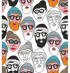 seamless pattern with old people faces vector image