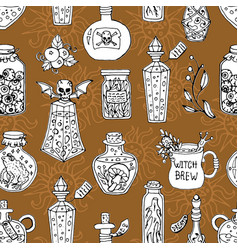 seamless pattern with witch magic bottles and brew vector image