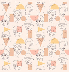 Seamless pattern with woman faces vector