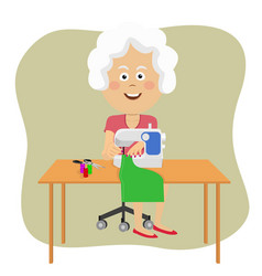 senior woman stitching fabric using sewing machine vector image