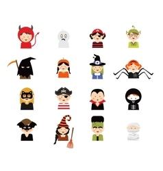 Set 16 halloween costume characters and kids vector