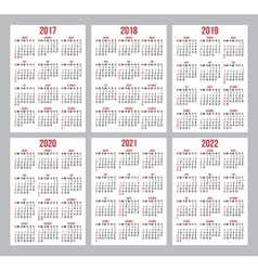 Set of calendar grid for years 2017-2022 vector