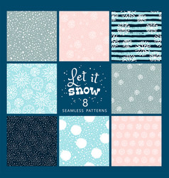 Set of winter seamless pattern with snow vector