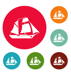 Ship excursion icons circle set vector
