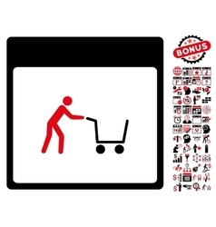 Shopping Cart Calendar Page Flat Icon With vector