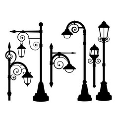 street lamp road lights silhouettes vector image