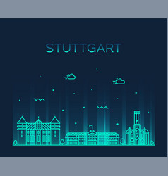 stuttgart city skyline german linear style vector image