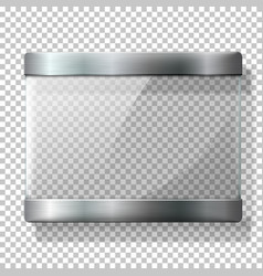 Transparent glass plate with metal holders vector image