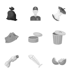 Trash and garbage set icons in monochrome style vector image