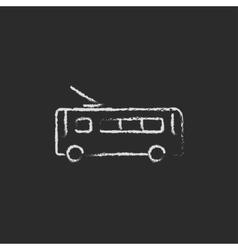 Trolleybus icon drawn in chalk vector
