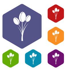 Tulips icons set hexagon vector