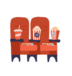 Two red cinema seats with popcorn drinks and vector