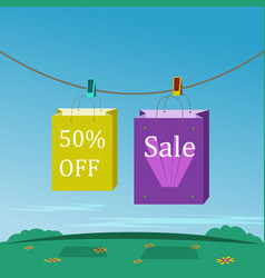 two shopping bags in purpur and yellow vector image