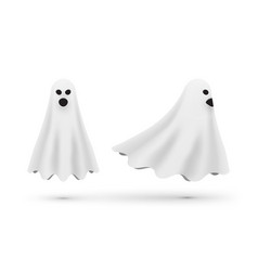 white cartoon ghost front and side view vector image