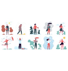 Woman in different weather girl walking in cloudy vector
