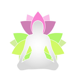 Womans silhouette in a meditation pose vector
