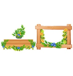 Wooden frames with flowers vector image