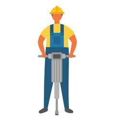 Workman drilling ground working man at job vector