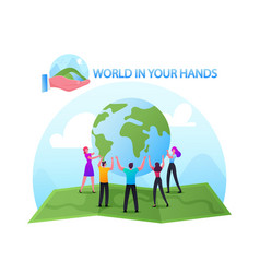world in hands concept male and female characters vector image