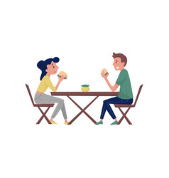 young couple sitting behind wooden table and vector image