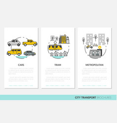 city transport business brochure template linear vector image