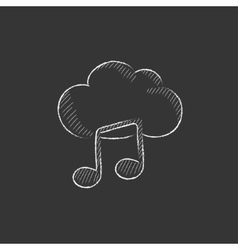Cloud music Drawn in chalk icon vector image vector image
