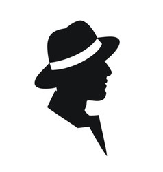 Man in a hat -black silhouette on white background vector image vector image