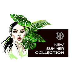 poster of new summer collection with fashion girl vector image