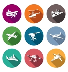 Air transport and the device Icons Set vector image