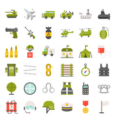 army and military icon set flat design vector image