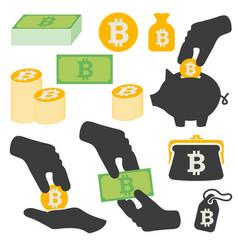 bitcoin symbols icons set vector image