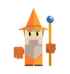 cute cartoon gnome in an orange hat with a staff vector image