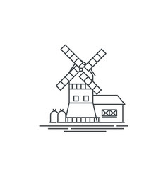 farm windmill line icon outline of vector image vector image