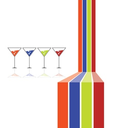 four glasses and four color line vector image